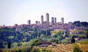 View of San Gimignano from above Poggio Alloro
