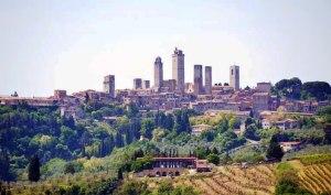 View of San Gimignano from above Poggio Alloro
